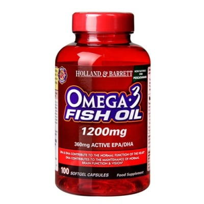 Omega 3 Fish Oil 1200 mg. 100 capsules Holland & Barrett / Омега 3 Концентрирано Рибено масло 1200 мг. 100 капсули Holland & Barrett