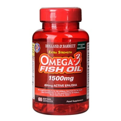 Omega 3 Fish Oil 1500 mg. 60 capsules Holland & Barrett / Омега 3 Концентрирано Рибено масло 1500 мг. 60 капсули Holland & Barrett