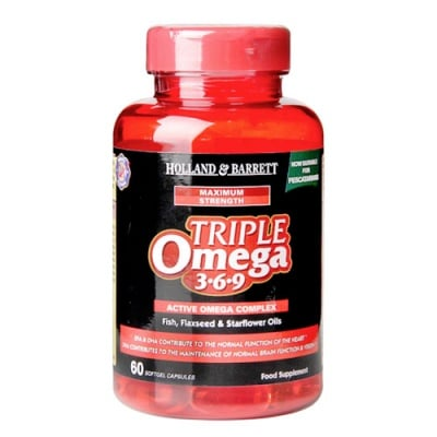 Triple Omega 3-6-9 60 capsules Holland & Barrett / Омега тройна сила 3-6-9 60 капсули Holland & Barrett