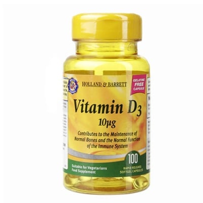 Vitamin D3 10 mcg 100 capsules Holland & Barrett / Витамин Д3 10 мкг. 100 капсули Holland & Barrett