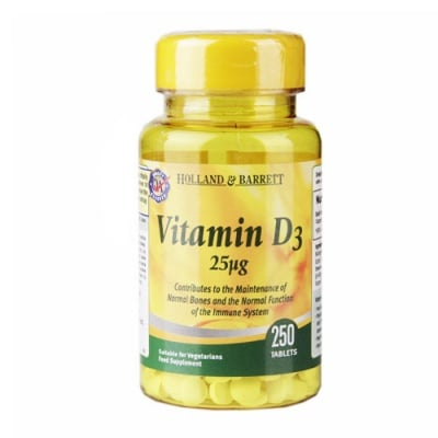 Vitamin D3 25 mcg 250 tablets Holland & Barrett / Витамин Д3 25 мкг. 250 таблетки Holland & Barrett