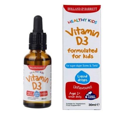 Healthy Kids Vitamin D3 liquid drops 30 ml. Holland & Barrett / Витамин Д3 течни капки за деца 30 мл. Holland & Barrett