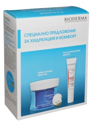 Bioderma Hydrabio set - Bioderma Hydrabio Rich cream 50 ml. + Bioderma Sensibio eye contour gel 15 ml. / Биодерма Хидрабио комплект - Биодерма Хидрабио Богат Хидратиращ крем за суха и много суха кожа 50 мл. + Биодерма Сенсибио околоочен гел за чувствителн