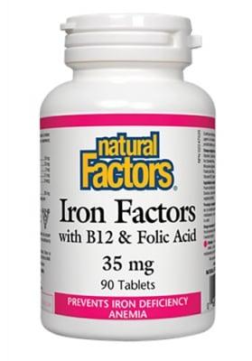 Iron factors with Vitamin B12 & folic acid 90 tablets Natural Factors / Желязо с Витамин Б 12 и Фолиева киселина 90 таблетки Натурал Факторс