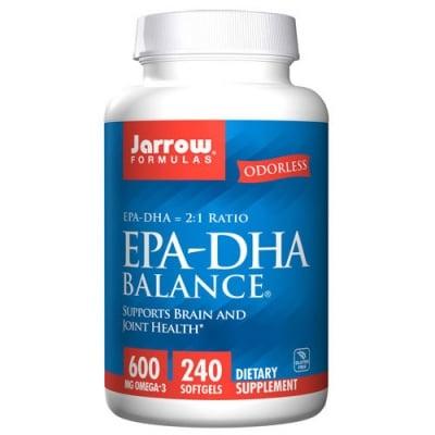 Jarrow Formulas EPA-DHA Balance 600 mg Omega 3 240 softgels / Джароу Формулас Рибено масло EPA-DHA Баланс 600 мг. Омега 3 240 меки капсули