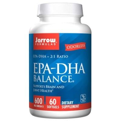 Jarrow Formulas EPA-DHA Balance 600 mg Omega 3 60 softgels / Джароу Формулас Рибено масло EPA-DHA Баланс 600 мг. Омега 3 60 меки капсули