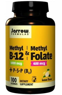 Jarrow Formulas Methyl B12 & methyl folate 100 lozenges / Джароу Формулас Метилкобаламин (метил В12) & Фолиева киселина (Метил фолат) 100 таблетки за смучене