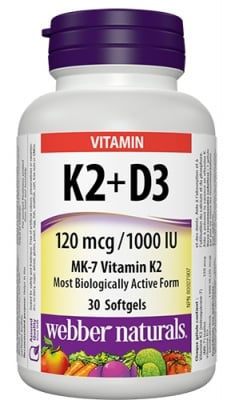 Vitamin K2 120 mcg + D3 1000 IU 30 softgels Webber Naturals / Витамин К2 120 мкг + Д3 1000 IU 30 софтгел капсули Уебър Натуралс