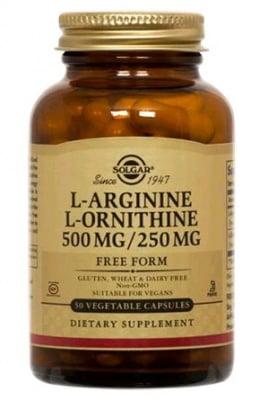 L-Arginine 500 mg. + L- Ornithine 250 mg. 50 capsules Solgar / L- Аргинин 500 мг. + L- Орнитин 250 мг. 50 капсули Солгар
