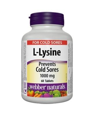L- lysine 1000 mg 60 tablets Webber Naturals / L-лизин 1000 мг 60 таблетки Уебър Натуралс
