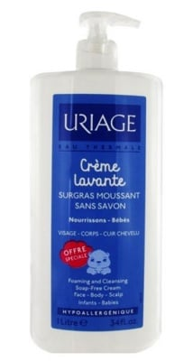 Uriage LAVANTE Baby foaming and cleansing soap free cream for face, body and scalp 1 liter / Уриаж LAVANTE Бебешки почистващ крем за лице, тяло и коса 1 литър