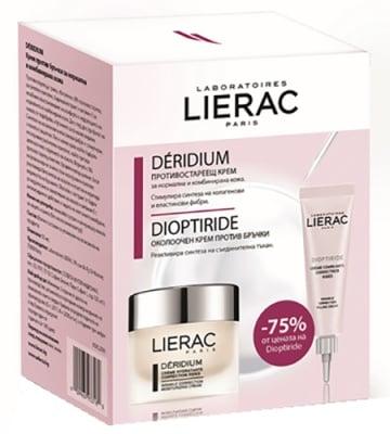 Lierac Set Deridium cream for normal and combination skin 50 ml. + Dioptiride wrinkle correction filling cream 15 ml / Лиерак комплект Деридиум крем срещу бръчки за нормална и комбинирана кожа 50 мл. + Диоптирайд околоочен крем против бръчки 15 мл.