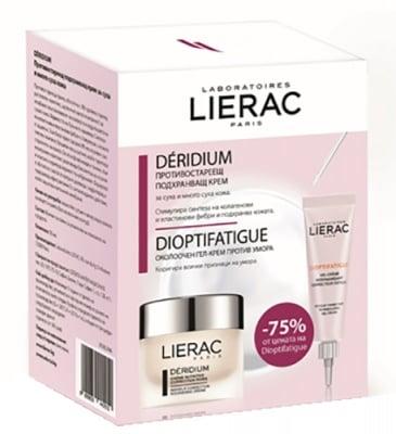 Lierac Set Deridium cream for dry skin 50 ml. + Dioptifatigue wrinkle correction filling gel-cream 15 ml / Лиерак комплект Деридиум крем срещу бръчки за суха кожа 50 мл. + Диоптифатиг околоочен гел-крем против бръчки 15 мл.