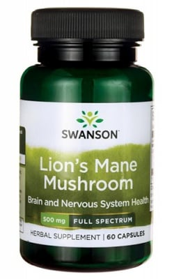 Swanson Lion`s mane mushroom 500 mg 60 capsules / Суонсън Лъвска грива фул 500 мг. 60 капсули