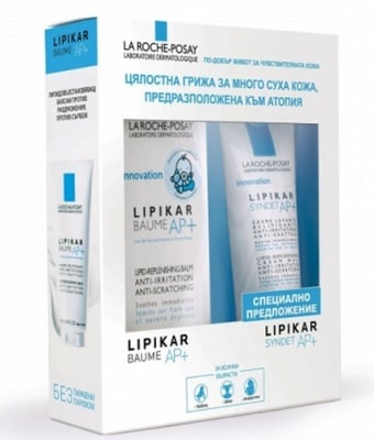 La Roche Lipikar AP+ set baume lipid replenishing balm 400 ml + sydnet lipid replenishing cream wash for dry skin 400 ml / Ла Рош Lipikar комплект балсам 400 мл. + измиващ душ крем 400 мл.