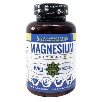 Magnesium Citrate 200 mg 100 capsules Cvetita Herbal / Магнезиев Цитрат 200 мг. 100 капсули Цветита Хербал