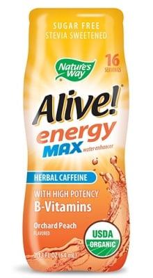 Alive Energy Max herbal caffeine peach 64 ml. Nature's Way / Алайв Енерджи Макс с билков кофеин градинска праскова 64 мл. Nature's Way