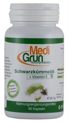 Medi Grun blackseed oil Vitamin E 90 capsules / Меди Грюн Масло от Черен кимион + Витамин Е 90 капсули