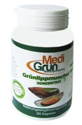 Medi Grun Green lipped mussel 500 mg 60 capsules / Меди Грюн Зеленоуста мида концентрат 500 мг 60 капсули