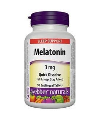 Melatonin 3 mg 90 sublingual tablets Webber Naturals / Мелатонин 3 мг 90 сублингвални таблетки Уебър Натуралс