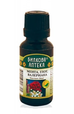 Tincture Mint, hawthorn and valerian 20 ml. / Тинктура Мента, глог и валериана 20 мл. Билкова Аптека
