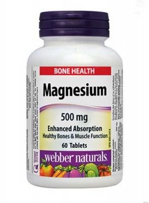 Magnesium 500 mg 60 tablets  Webber Naturals / Магнезий 500 мг 60 таблетки Уебър Натуралс