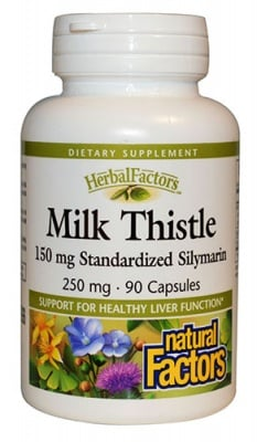 Milk thistle 250 mg 90 capsules Natural Factors / Бял трън 250 мг. 90 капсули Натурал Факторс