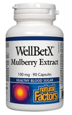 Mulberry extract 100 mg 90 capsules Natural Factors / Бяла черница 100 мг. 90 капсули Натурал Факторс