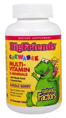 Big Friends multivitamin and minerals for kids 60 chewable tablets Natural Factors / Мултивитамини и минерали за деца Биг Френдс 60 дъвчащи таблетки Натурал Факторс