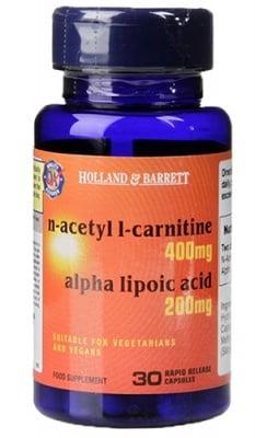 N-acetyl L-carnitine + alpha lipoic acid 30 capsules Holland Barrett / N-Ацетил L-Карнитин + Алфа липоева киселина 30 капсули Holland Barrett
