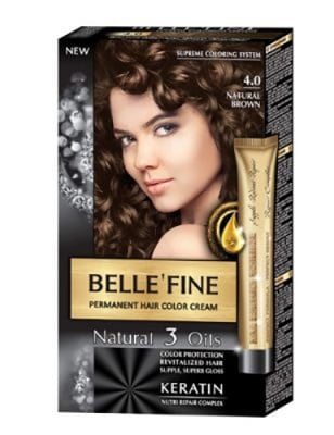 Belle'Fine hair color cream 4.0 natural brown / Бел Файн боя за коса 4.0 натурално кафяв
