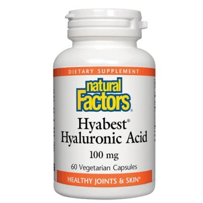 Hyabest Hyaluronic Acid 100 mg 60 capsules Natural Factors / Хиабест Хиалуронова киселина 100 мл 60 капсули Натурал Факторс