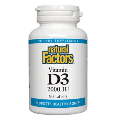 Vitamin D3 2000 IU 90 tablets Natural Factors / Витамин Д3 2000 IU 90 таблетки Натурал Факторс