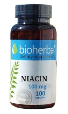 Bioherba Niacin 100 mg 100 capsules / Биохерба Витамин Б3 (Ниацин) 100 мг. 100 капсули