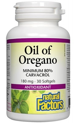 Oil of Oregano 180 mg 30 softgel Natural Factors / Масло от Риган 180 мг. 30 софтгел капсули Натурал Факторс