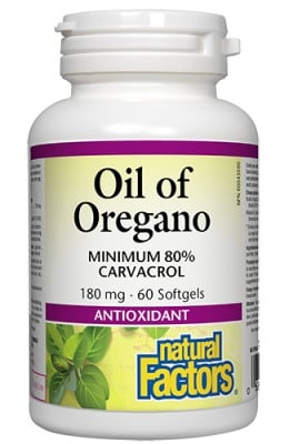 Oil of Oregano 180 mg 60 softgel Natural Factors / Масло от Риган 180 мг. 60 софтгел капсули Натурал Факторс