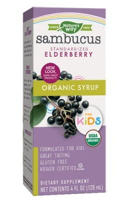 Sambucus for kids with elderberry syrop 120 ml. Nature's Way / Самбукус с черен бъз за деца сироп 120 мл. Nature's Way