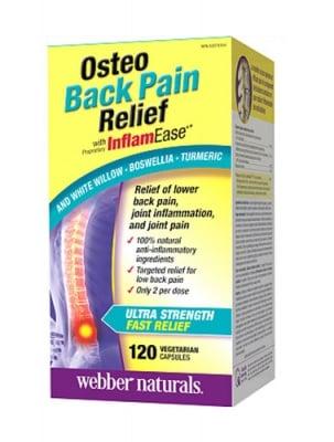Osteo back pain relief with inflamease 120 capsules Webber Naturals / Остео пейн релийф при болки в гърба 120 капсули Уебър Натуралс