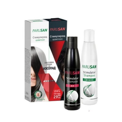 Parusan Set Stimulator Shampoo for women 200 ml. + Stimulator Shampoo for men 200 ml. / Парусан комплект Стимулиращ шампоан за растеж на косата при косопад за жени 200 мл. + Стимулиращ шампоан за растеж на косата при косопад за мъже 200 мл.