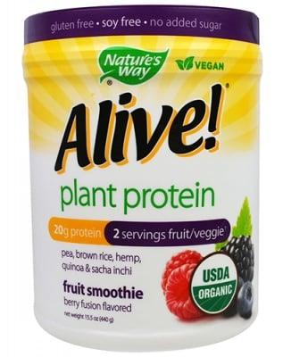 Alive Organic plant protein berry fusion 440 g Nature's Way / Алайв Органик растителен протеин горски плодове 440 гр. Nature's Way