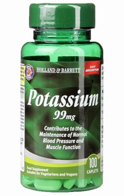 Potassium 99 mg 100 caplets Holland & Barrett / Калий 99 мг. 100 каплети Holland & Barrett