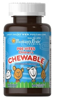 Puritan's Pride Pre-vites children's multivitamin 100 chewable tablets / Пуританс Прайд Пре-Витс Мултивитамини за деца 100 дъвчащи таблетки