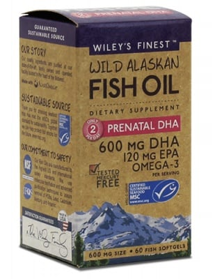 Fish oil prenatal DHA 600 mg 60 capsules Wiley`s finest / Рибено масло Омега-3 DHA за бременни 600 мг. 60 капсули Wiley`s finest