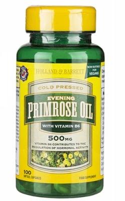 Evening Primrose oil with Vitamin B6 500 mg 100 capsules Holland & Barrett / Масло от Вечерна иглика с Витамин Б6 500 мг 100 капсули Holland & Barrett