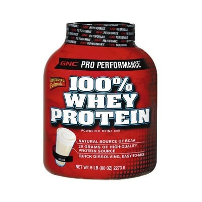 GNC Whey Protein 100% / Суроватъчен протеин - Ванилия 100%, Прах: 2273 гр.