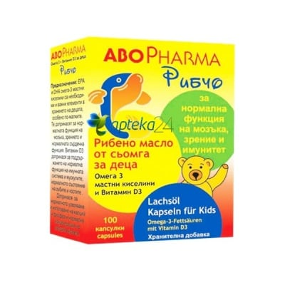 Abopharma Ribcho Fish Oil for kids 100 capsules / Абофарма Рибчо Рибено Масло от сьомга за деца 100 капсули