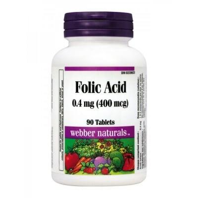 Webber Naturals Folic Acid / Фолиева киселина, Брой таблетки: 90