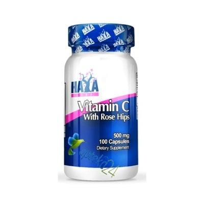 Haya Labs Vitamin C + Rose hips 500 mg. 100 capsules / Хая Лабс Витамин Ц + Шипка 500 мг. 100 капсули