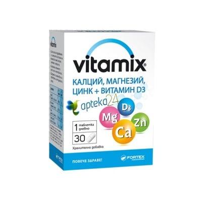 Vitamix Ca, Mg, Zn + vitamin D3 30 capsules / Витамикс калций, магнезий, цинк + витамин Д3 30 капсули, Брой капсули: 30