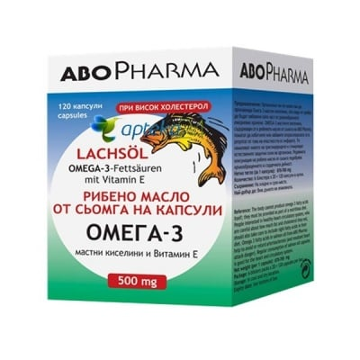 Abopharma Omega-3 Salmon oil 500 mg. 120 capsules / Абофарма Омега-3 масло от сьомга 500 мг. 120 капсули